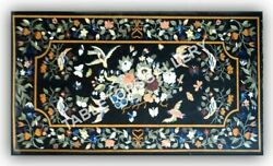 5and039x3and039 Marble Top Dining Table Bird Floral Collectible Inlay Home Decorative E971