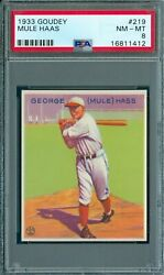 1933 Goudey 219 Mule Haas Psa 8 Spectacular Colors And Very Rare Pop 14
