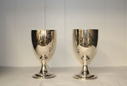 Pair Of English Georgian Sterling Silver Goblets By Solomon Hougham 1807-1808