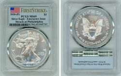 2020 P Silver American Eagle 1 Emergency Issue Pcgs Ms69 Firststrike Flag
