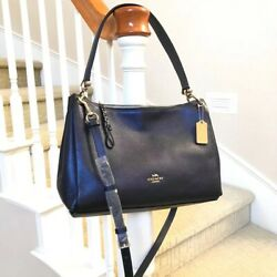 New Coach Large Mia Leather Shoulder Bag F29137 Metallic Blue $159.99