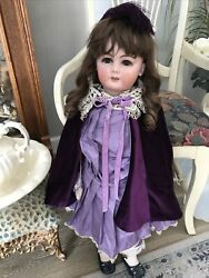 Antique 30 French Bisque Jumeau Doll On Original Body With Human Hair Wig