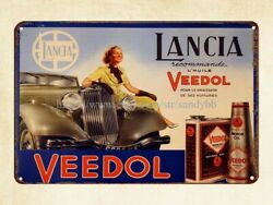 Wall Plaques Lancia Veedol Motor Oil French Retro Ads Metal Tin Sign