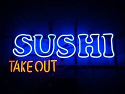 Take Out Sushi Open Fresh Fish Neon Light Sign 24x16 Beer Bar Decor Lamp Glass