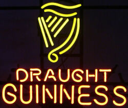 New Guinness Draught Neon Light Sign 32x24 Lamp Poster Real Glass Beer Bar