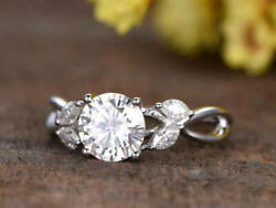 Nature Leaf Engagement Ring 2.50ct Round D/vvs1 Diamond In Solid 14k White Gold