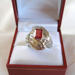 3.85 Ct. Ruby Solitaire And Diamond 14k White Gold Ring