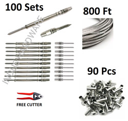 1/8 Cable Railing 316 Stainless Steel Kit 1x19 800 Ft+full Kit For Wood