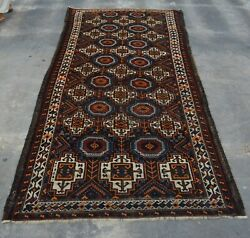 B2611 Antique Primitive Caucasian Rug / Hand Knotted Rug 100 Wool 3'11 X 8'2