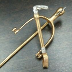 Antique Victorian 14k Solid Gold Equestrian, Horse Riding Crop And Spurs Stick Pin