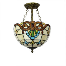 Kay Vintage Style Ceiling Light Chandelier Stained Glass Hotel Bedroom