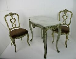 Antique Set 19th Century Two Chairs Table Marble Top French Provincial Ornate