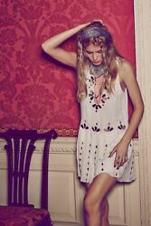 Free People FP ONE Delphine Mini Dress Mirror Evening White Boho L New 209803 $42.49