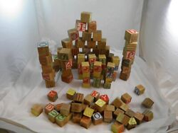Lot Of 109 Vintage Wooden Child's Learning Blocks Classic Toys Disney Characters