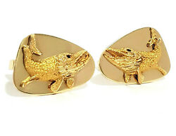 Vintage And Co. 14k Yellow Gold Muskie Cuff Links With Ruby