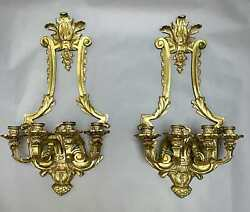 Pair Vintage Antique Massive Ornate Solid Brass Four Arms Wall Sconces 27''