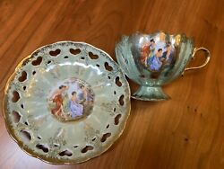 Reticulated Lefton Cup And Saucer With Nude Image