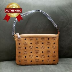 NEW Authentic MCM Pouch Clutch Cognac Brown from reversible shopper set $238.00