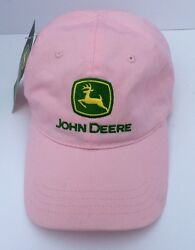 John Deere Hat Cap Pink Adjustable Band Women New With Tags Metal Clasp