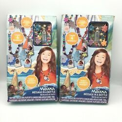 Lot Of 2 Disney Moana Message In A Bottle Necklace Childrens Activity Kit New