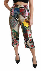 Dolce And Gabbana Pants Silk Multicolor Print High Waist Cropped It40/us6 /s 2800