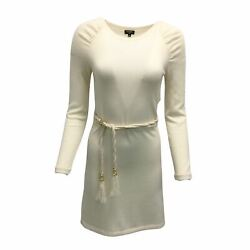 Ivory Long Sleeved Knit Dress With Braided Belt
