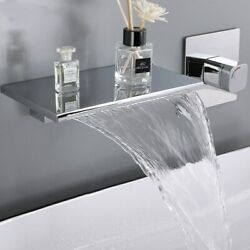 Waterfall Bathroom Basin Faucet Solid Brass Chrome Sink Mixer Tap Hot And Cold Tap