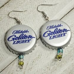 Michelob Golden Light Beer Real Bottle Cap Fashion Novelty Earrings Jewelry 4