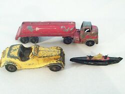 Vintage Metal Tootsie Toy Truck And Submarine And Hubley Car