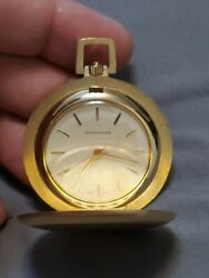 Vintage Wittnauer Full Hunter Manual Wind Gold Plated Pocket Watch