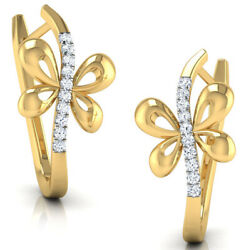 Christmas 0.75ct Natural Round Diamond 14k Solid Yellow Gold Hoops Earring