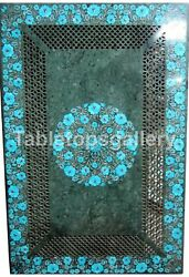 4and039x2and039 Marble Dining Table Tops Lattice Art Turquoise Floral Inlay Decorate B194a