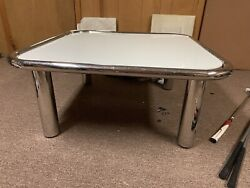 1970's Vintage Mid-century Modern Milk Glass And Chrome Coffee Table By Breuton