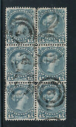 Canada 30e Very Fine Used Block Of Six Deep Blue Shade With Certificate