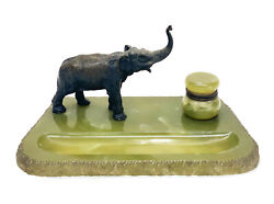 Continental Green Onyx And Austrian Bronze Elephant Inkwell Writing Stand C1900