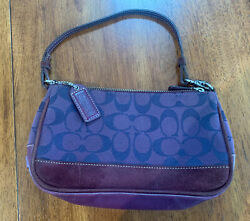 Coach Purple and Maroon Canvas and Leather Purse Clutch Signature C G04J 6094 $49.00