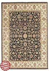 Hand Knotted Classic Area Rug Agra Indian Wool Black Multi Carpet 8x10 Ft. New