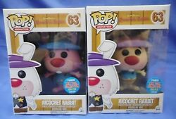 Set Of Rare Funko Pop Nycc Exclusive Ricochet Rabbit Figures Pink And Yellow /300