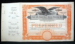 East St Louis-new Athens Beer Brewing Co Unissued Preferred Stock Certificate