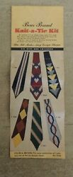 Vintage Knit-a-tie Kit Bear Brand Patterns And Instructions Midcentury Fun Gift