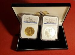 2006 W Us American Eagle 20th Anniversary Gold And Silver 2 Coin Set Ngc Ms70 Ms69