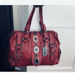 Coach Ostrich Lily Satchel Do712-11160 Certified Authentic