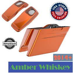 Amber Whiskey Stretched Saddlebag Pinstripes 6x9and039and039 Speaker Lids Fits 14+ Harley