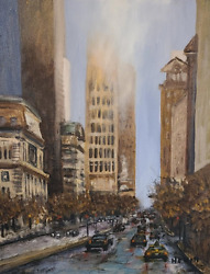 Original Wall Gallery Wrapped Canvas Cityscape Oil Painting Chicago Michigan Ave