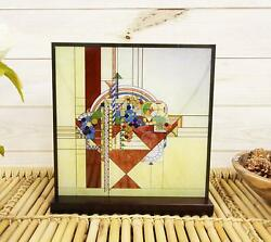 Frank Lloyd Wright Metal Framed May Basket Stained Glass Desktop Or Wall Plaque