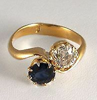 22k Gold Victorian Sapphire And Diamond Ring 11-331