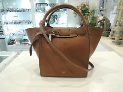 Celine Small Big Bag W Long Strap In Grained Calfskin Brown Leather- Rrp 2950