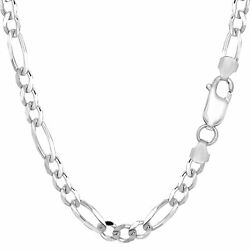 14k White Solid Gold Figaro Chain Width 5.0mm
