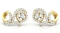 Christmas 1.66ct Natural Round Diamond 14k Solid Yellow Gold Stud Earring