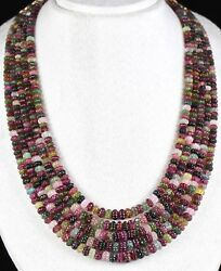 Natural Multi Tourmaline Melon Carved 5 Line 828 Carats Gemstone Beads Necklace